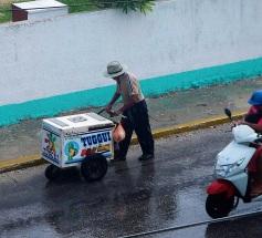 Palleta salesman walking in rain.