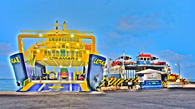 car ferry boats docked on Isla Mujeres